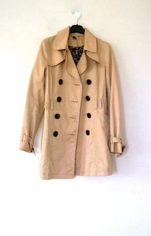 H&M kremowy bezowy wiosenny plaszczyk H&M 38 40 L M z guzikami kurtka