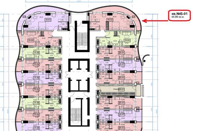 2 комнатная квартира с тирассой в Аркадии 44.99 м² (890 $) рассрочка