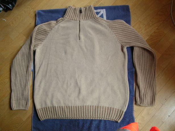 Ciepły wełniany sweter stójka golf 52/54 wełna woolmark XL/XXL wool