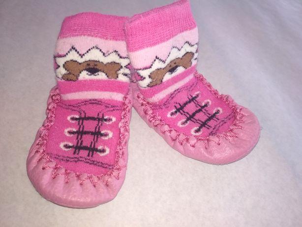 Носочки Носки Пинетки с кожаной подошвой тапочки чешки с підошвою