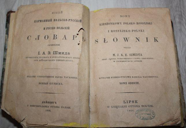 Słownik kieszonkowy polsko rosyjski rok 1866 Lipsk