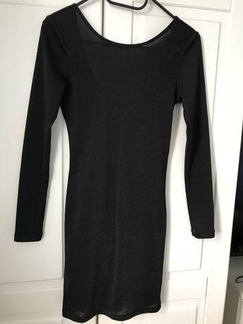 Sukienka mała czarna mini brokat XS/S H&M