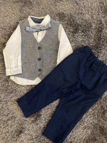 Next zestaw dla chlopca koszula kamizelka spodnie rozmiar 12/18,86