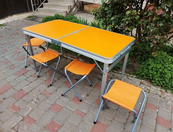 Стол для пикника усиленный + зонт + 4 стула (все цвета)