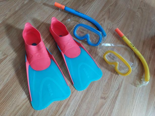Płetwy i google do nurkowania dla dzieci