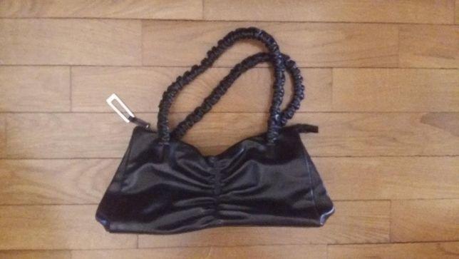 Bolsa / mala de mão castanha escura em pele