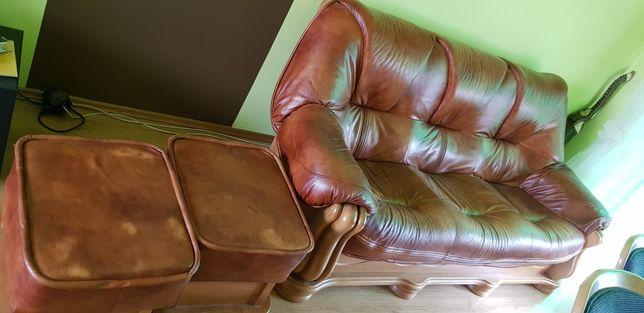 Kanapa Sofa Skórzana 3 osobowa + 2 pufy