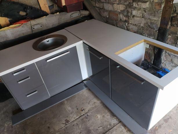 Kuchnia IKEA biala / szara meble kuchenne szafki + wieszaki