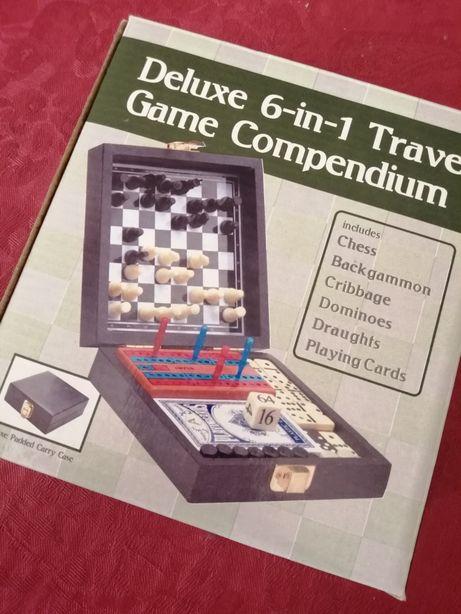 6 jogos de viagem xadrex damas magnético
