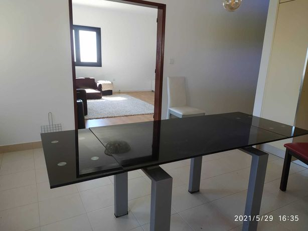 Mesa jantar extensível de vidro