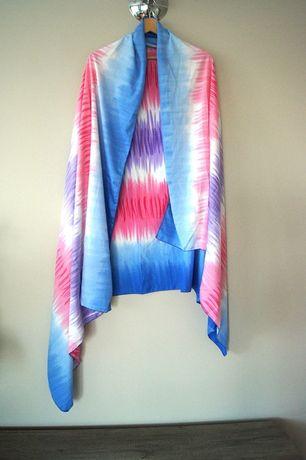 ombre niebieska chusta rozowa szal pareo na plaze plazowe niebieskie