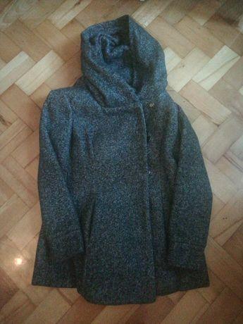 Szary płaszcz z kapturem, rozmiar L