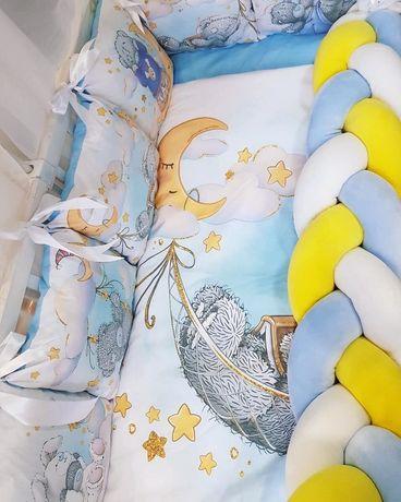 Топ продаж!Самый красивый комплект бортики коса в кроватку с Тедди