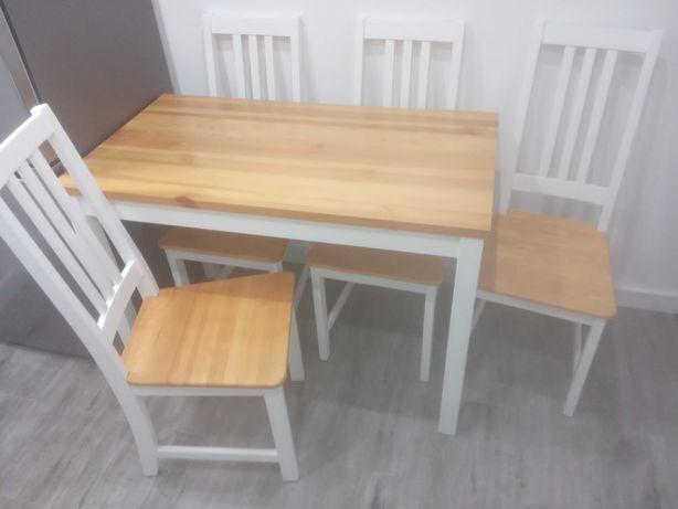 Komplet do jadalni stół i krzesła drewniane