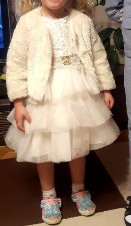 Sukienka 104-110 z futerkiem