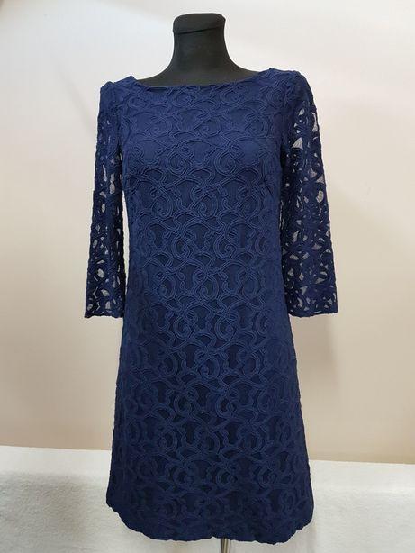NINE WEST USA r.36 elegancka sukienka wizytowa koronka