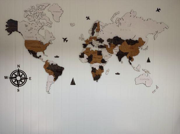 Mapa świata 3Dv2 120 x 70, dekoracja na ścianę z drzewa, obraz , dekor