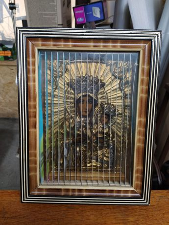 Stary zabytkowy obraz z Matką Boską 3D prl antyk