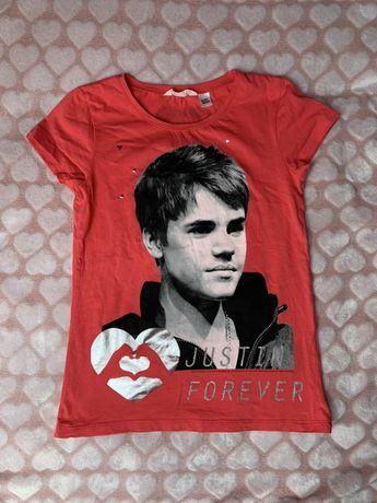 Koszulka Justin Bieber H&M 146 cm  Koszulka z nadrukiem Justina Bieber