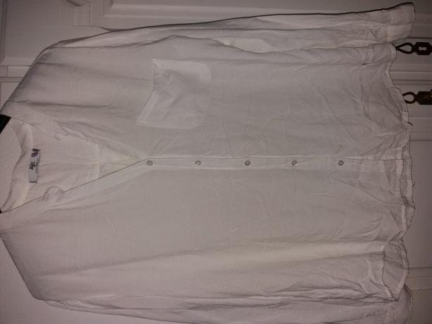 biała bluzka koszulowa ze stójką AjC