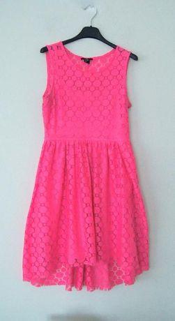 H&M rozowa neonowa rozkloszowana koronkowa sukienka w kola 36 S grochy