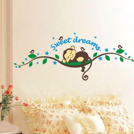 Наклейка на стену в детскую комнату. Обезьяна
