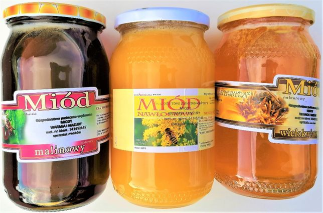 Miód, miody, malinowy, faceliowy,gryczany DOSTAWA GRATIS od 3 słoików