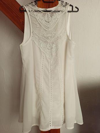 Sukienka ażurowa Boho biała letnia koronkowa