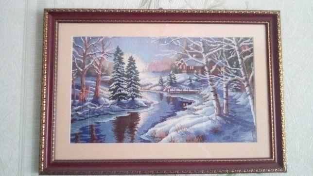 """картина крестиком """"Зимний лес"""""""