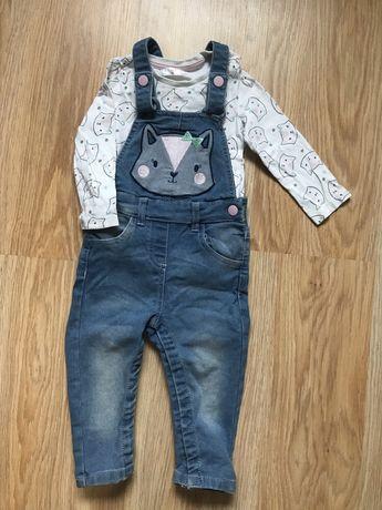 Костюм джинсовый комбинезон + кофточка 80 размер
