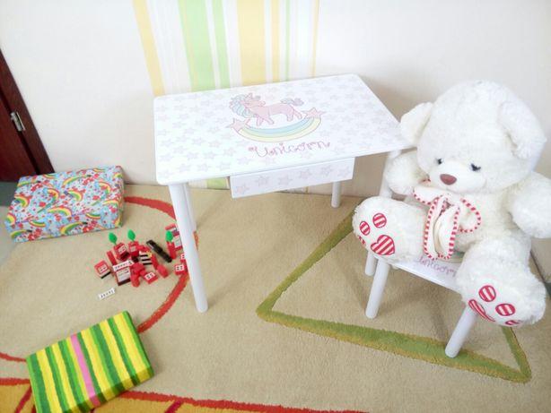 Детский столик с Единорогом (от 1 до 7 лет) стол-парта стул (варианты)
