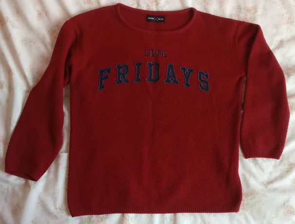 Czerwona bluza sweter House XL