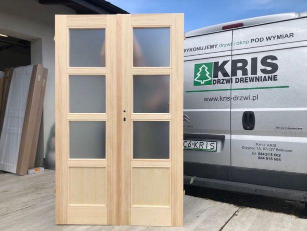 Drzwi dwuskrzydłowe sosna 128x205cm