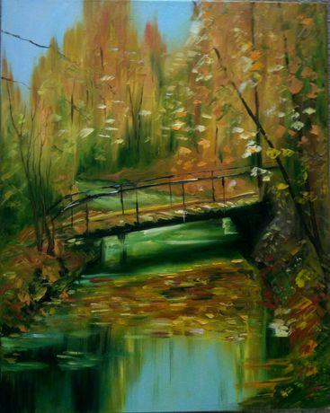 Картина маслом. Осенний пейзаж. Лес. Ручей, мост в парке.