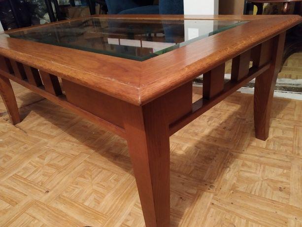 stolik kawowy z szybą drewno dąb