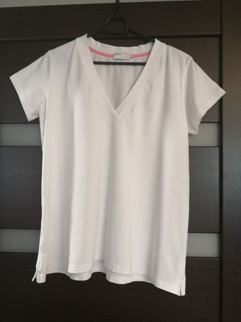 Granatovo ciążowy T-shirt V neck oversize rozm. S