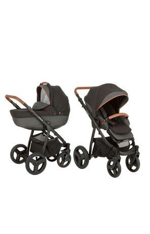 Nowy wózek Amelis Pro German Black Melange 2w1 Zestaw