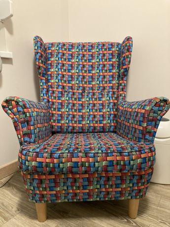 Fotel do karmienia uszak z podnóżkiem pufa głęboki kolorowy