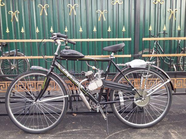 Двигун на дирчик з велосипедом в зборі