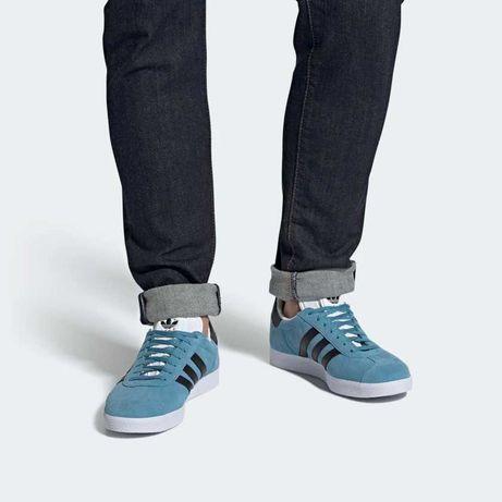 Красовки Adidas Gazelle голубого цвета