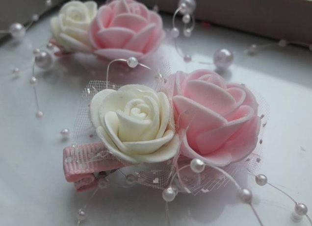 spinki i gumki do włosów, różyczki piankowe, spineczki, gumki, róże