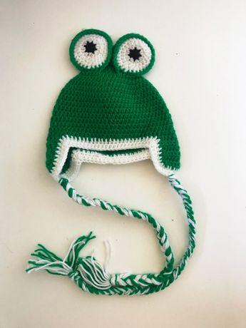 """Czapka dziecięca / niemowlęca """"żabka"""" - obwód - 36 cm"""