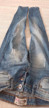 Spodnie jeansy 164 xs przecierane przeszycia Modne nr46