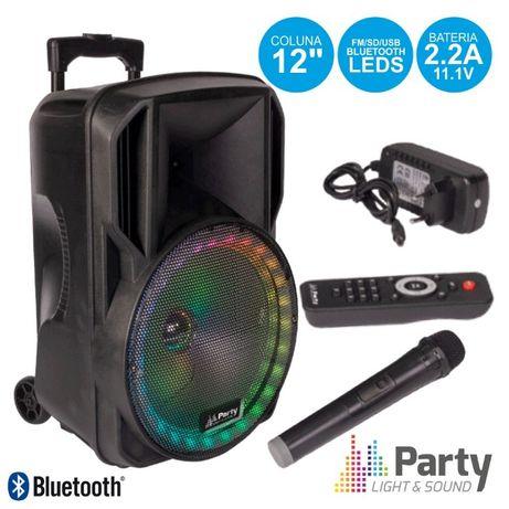 """Coluna Amplificada 12"""" USB/FM/BT/SD/BAT VHF Preta 700W PARTY"""