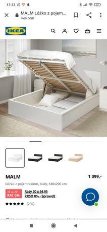 Białe Łóżko 140x200 cm z pojemnikiem MALM IKEA wraz z materacem