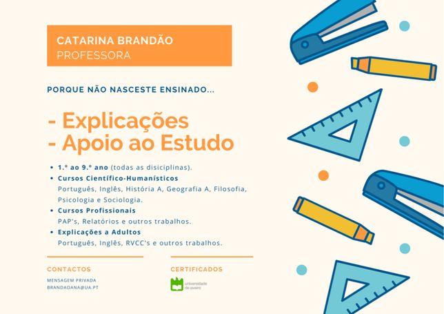 Explicações/Apoio ao Estudo - Catarina Brandão PROFESSORA