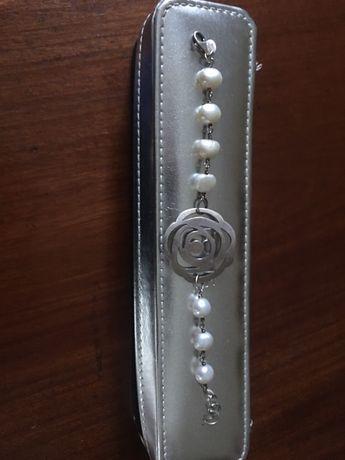 Pulseira da Tous em prata e pérolas original