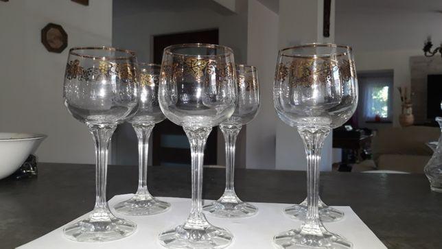eleganckie kryształowe kieliszki do wina złocone 6 szt