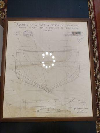 Desenho construção do Lugre Santa Maria Manuela