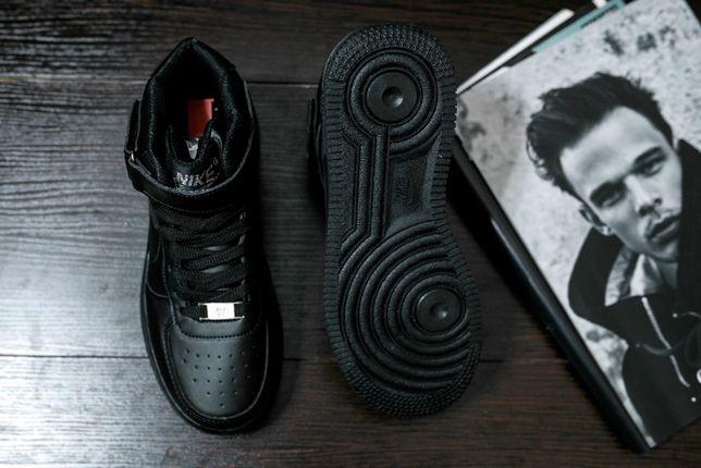 Кроссовки зимние черные Nike Air Force High Black Winter Найк Аир Форс
